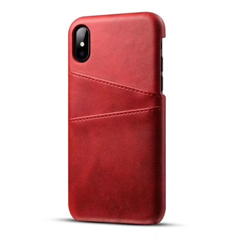 Imagine Husa Port card din piele ecologica iPhone X Rosie