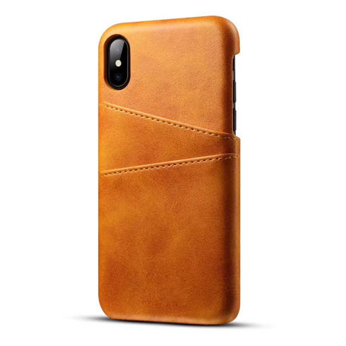 Imagine Husa Port card din piele ecologica iPhone X Maro