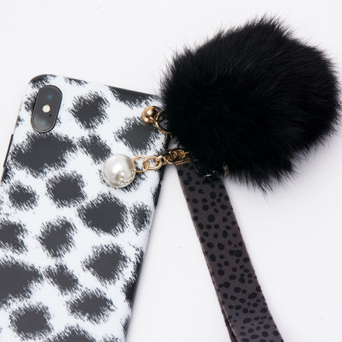 Imagine Husa Luxury Fashion cu Pom Pom iPhone X/XS Alb-Negru