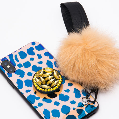 Imagine Husa Luxury Fashion Leopard Print cu Pom Pom si Popsocket iPhone X/XS