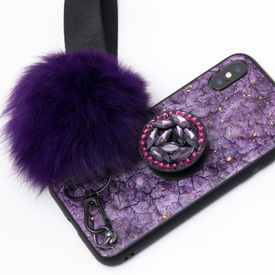 Imagine Husa Oriental Luxury cu Pom Pom si Popsocket Iphone 7/8 Plus Mov