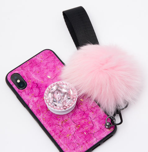 Imagine Husa Oriental Luxury cu Pom Pom si Popsocket Iphone X/XS Roz