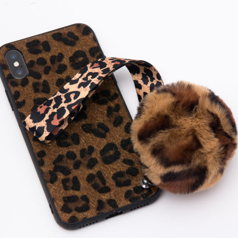 Imagine Husa Luxury Fashion Animal Print cu Pom Pom iPhone X/XS Maro