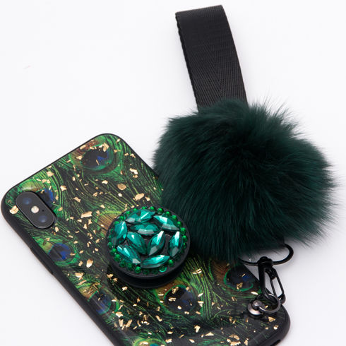 Imagine Husa Luxury cu Pom Pom si Popsocket iPhone XS Max