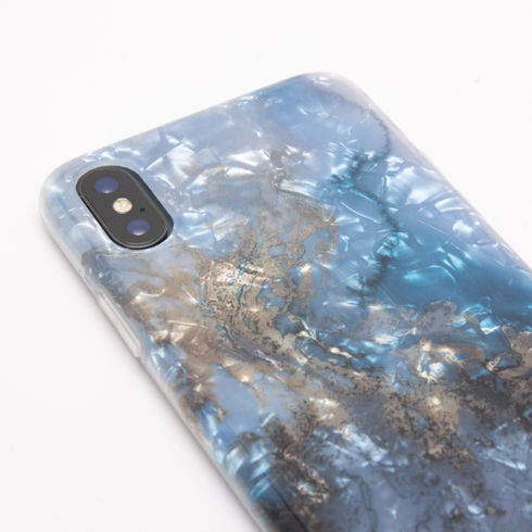 Imagine Husa Luxury Marble Clear Edge iPhone X  Albastra + CADOU folie de sticla