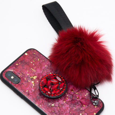 Imagine Husa Oriental Luxury cu Pom Pom si Popsocket Iphone X/XS Rosie